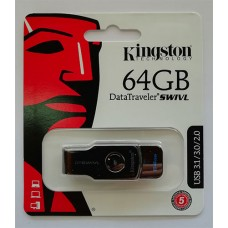 Flash Kingston 64GB Swivl Black USB 3.0