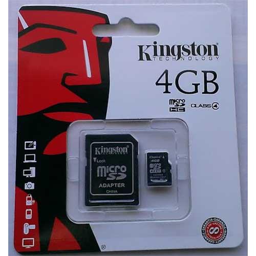 Купить micro-SDHC Card Kingston 4GB Class 4 + SD