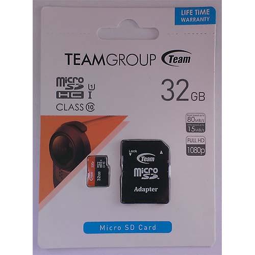 Купить micro-SDHC Card Team 32GB UHS-1 Class 10 + адаптер