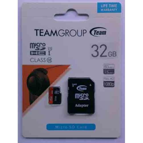 Купить micro-SDHC Card Team Black 32GB UHS-1 Class 10 + адаптер