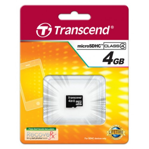 Купить micro-SDHC Card Transcend 4GB Class 4 без SD