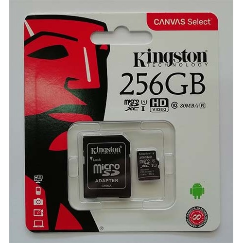 Купить micro-SDXC Card Kingston 256GB UHS-1 Class10 Canvas Select+адаптер