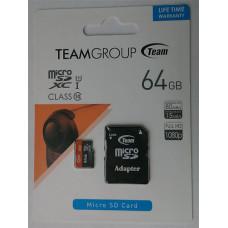 micro-SDXC Card Team 64GB UHS-1 Class10 + адаптер
